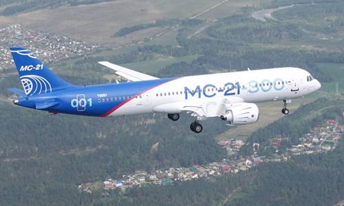 Mẫu máy bay chở khách MC-21 bay thử nghiệm hồi tháng 5/2017. Ảnh: Aviation.