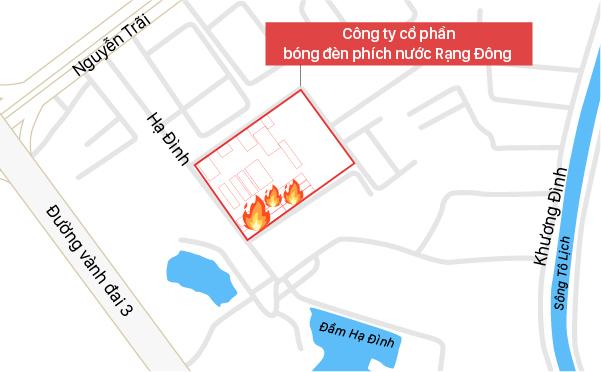 Vị trí nhà kho cháy của Công ty Rạng Đông. Đồ họa: Việt Chung.