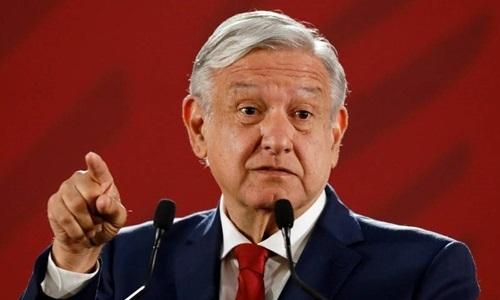 Tổng thống Mexico Andres Manuel Lopez Obrador trong cuộc họp báo ở Cung điện Quốc gia hôm 22/7. Ảnh: Reuters.