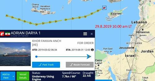 Hành trình của tàu Adrian Darya 1 đến ngày 29/8. Ảnh: Marine Traffic.