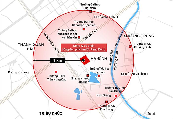Vùng ảnh hưởng trong bánkính 1 km quanh đám cháy. Đồ họa: Việt Chung.