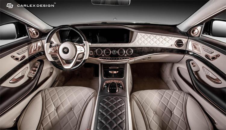 Phiên bản Mercedes-Maybach S650 được Carlex giới thiệu có nội thất điểm nhấn các chi tiết dát vàng hồng. Ảnh: Carlex