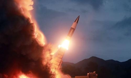 Một vụ thử tên lửa tầm ngắn của Triều Tiên diễn ra hồi tháng 8. Ảnh: KCNA.