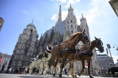 Xe ngựa đi qua nhà thờ thánh Stephen ở Vienna hôm 3/9. Ảnh: AFP.