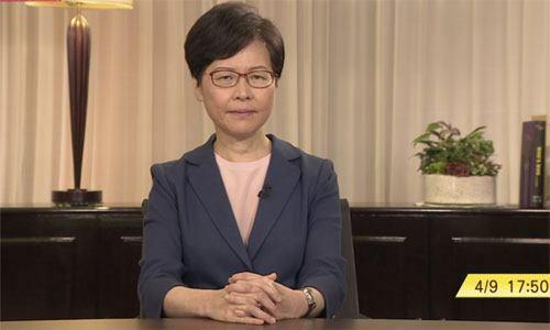 Trưởng đặc khu Carrie Lam phát biểu trên truyền hình hôm nay. Ảnh: SCMP.