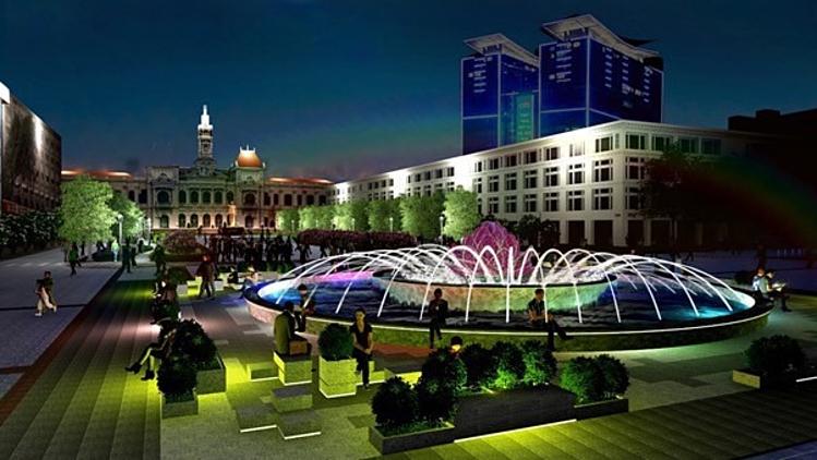 Phối cảnh đài phun nước nghệ thuật tại giao lộ phố đi bộ Nguyễn Huệ - Lê Lợi về đêm. Ảnh: Sở Quy hoạch - Kiến trúc TP HCM