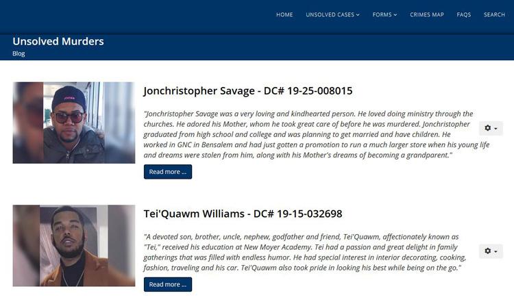 Trang web Philly Unsolved Murders đăng tải những vụ án mạng chưa tìm được hung thủ. Ảnh: Philly Unsolved Murders.