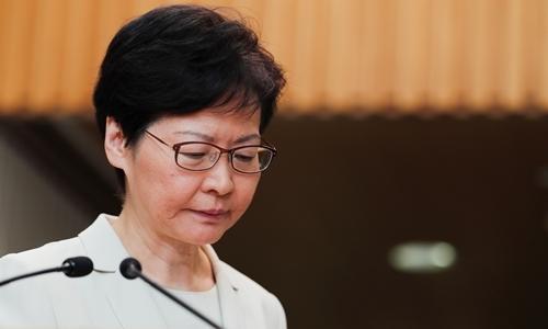 Trưởng đặc khu Carrie Lam trong cuộc họp báo tại Hong Kong ngày 5/9. Ảnh: Reuters.