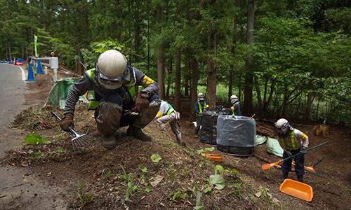 Các công nhận tẩy xạ và dọn rác nhiễm xạ ở một cánh rừng tại tỉnh Fukushima, Nhật Bản năm 2015. Ảnh: Greenpeace Japan