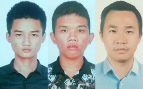 Bình (từ trái), Sinh và Hiếu. Ảnh Công an cung cấp.