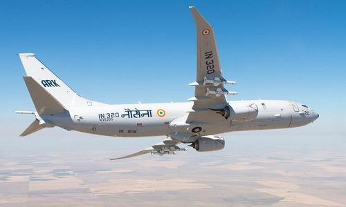 Máy bay P-8I Ấn Độ bay huấn luyện hồi tháng 5/2019. Ảnh: Hải quân Ấn Độ.
