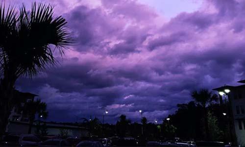 Bức ảnh bầu trời màu tím hôm 4/9 ở Jacksonville, bang Floridado Amy Pope-Latham chụp. Ảnh: CNN.