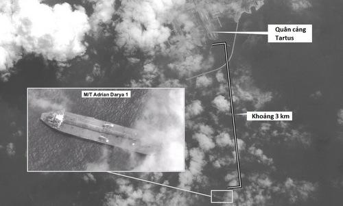 Vị trí siêu tàu dầu Iran được vệ tinh Mỹ chụp hôm 6/9. Ảnh: Digital Globe.