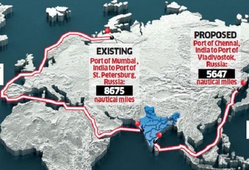 Tuyến hàng hải cũ (trái) và mới kết nối các thành phố Nga và Ấn Độ. Đồ họa: India Times.