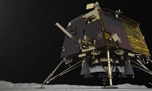 Mô phỏng tàu đổ bộ Vikram hạ cánh xuống Mặt Trăng. Ảnh: UPI.