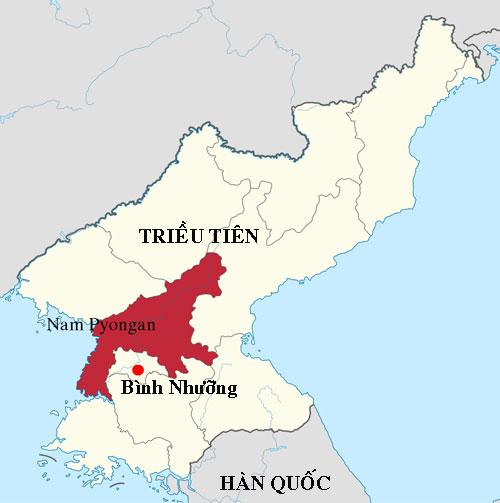 Vị trí tỉnh Nam Pyongan của Triều Tiên. Đồ họa: Wikipedia.