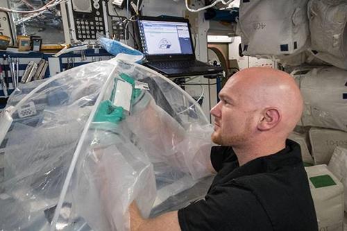 Phi hành gia của Cơ quan Vũ trụ Châu Âu Alexander Gerst làm thí nghiệm trên Trạm vũ trụ quốc tế. Ảnh: NASA.