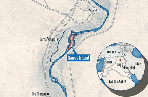 Vị trí đảo Qanus trên sông Tigris ở miền bắc Iraq. Đồ họa: DailyMail.