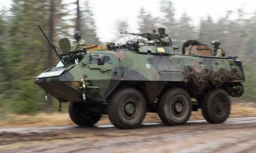 Một xe thiết giáp Pasi trong cuộc diễn tập  UUSIMAA 2017. Ảnh: Facebook/Maavoimat.