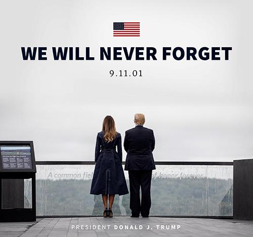 Bức ảnh tưởng niệm vụ khủng bố 11/9 được Tổng thống Trump đăng tải. Ảnh: Donald Trump Twitter