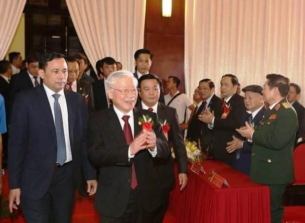 Tổng bí thư, Chủ tịch nước Nguyễn Phú Trọng đến dự lễ kỷ niệm 70 năm Học viện chính trị quốc gia Hồ Chí Minh. Ảnh: TTX