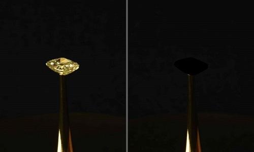 Viên kim cương sau khi phủ vật liệu đen. Ảnh: Live Science.