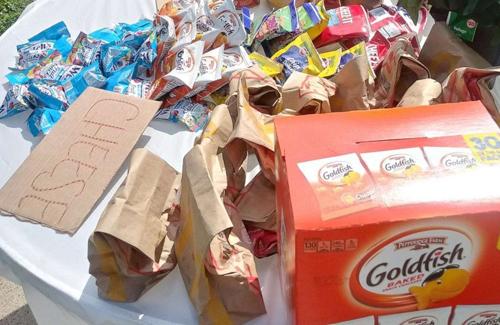 Những túi đồ ăn do Anderson chuẩn bị được đặt bên ngoài cửa nhà. Ảnh: Courtesy Champale Anderson.