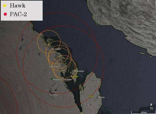 Các tổ hợp Hawk (màu cam) và PAC-2 (màu đỏ) bố trí gần nhà máy Abqaiq. Đồ họa: AmirlGM.