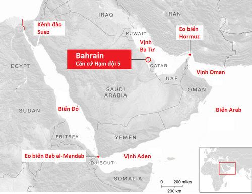 Khu vực hoạt động của Hạm đội 5 hải quân Mỹ. Đồ họa: CNN.