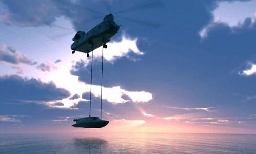 Xuồng có thể được thả từ trực thăng hoặc tàu ngầm. Ảnh: Sun.