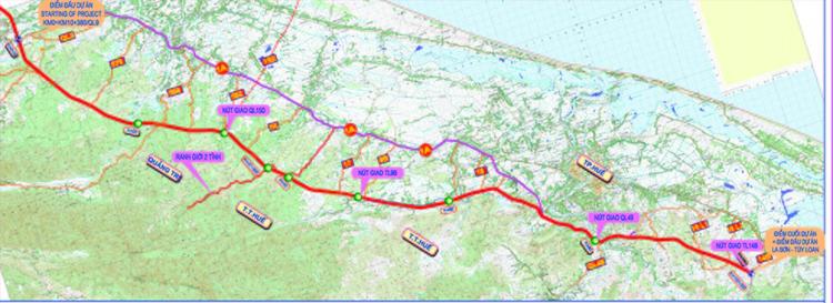 Bản đồ tuyến cao tốc Cam Lộ - La Sơn.
