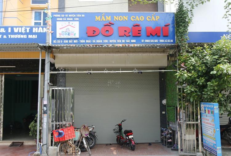 Trụ sở nhóm lớp mầm non Đồ Rê Mí là ngôi nhà 5 tầng, nằm ở thôn Đoài, xã Hoàn Sơn. Ảnh: Thanh Hằng
