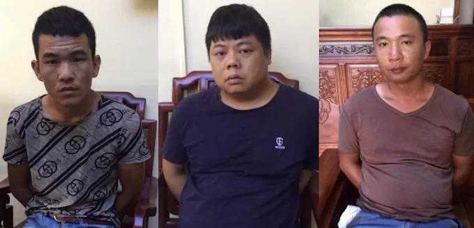 Yang Chang Cai (ở giữa) và hai đồng phạm. Ảnh: Nguyễn Hải
