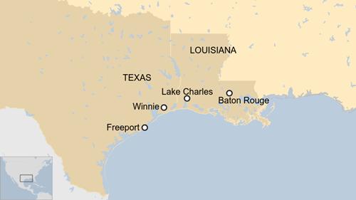Vị trí các kho dự trữ dầu của Mỹ. Đồ họa: BBC.