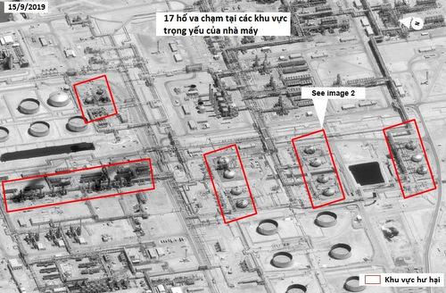 Các vị trí bị tấn công tại nhà máy Abqaiq hôm 14/9. Ảnh: Digital Globe.