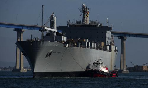 Tàu vận tải USS Cape Isabel tham gia diễn tập kích hoạt gấp hồi năm 2017. Ảnh: US Navy.