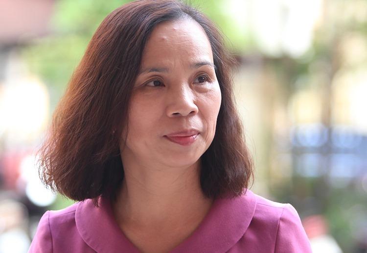 Cựu phó giám đốc Sở Giáo dục và Đào tạo Hà Giang Triệu Thị Chính tại tòa án trong sáng 18/9. Ảnh: Phạm Dự