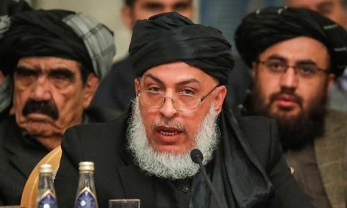 Trưởng nhóm đàm phán phiến quân Taliban Sher Mohammad Abbas Stanikzai tại Moskva hồi tháng 2. Ảnh: Reuters.