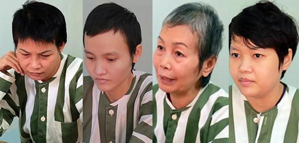 Từ trái sang: Nguyễn Ngọc Tâm Huyên, LêNgọc Phương Thảo,Trịnh Thị Hồng Hoa và Phạm Thị Thiên Hà.Ảnh: Nguyệt Triều.