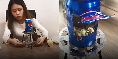 Hình ảnh trong video làm bỏng ngô bằng lon nước ngọt của Tiểu Dã. Ảnh: YouTube/Xiaoye
