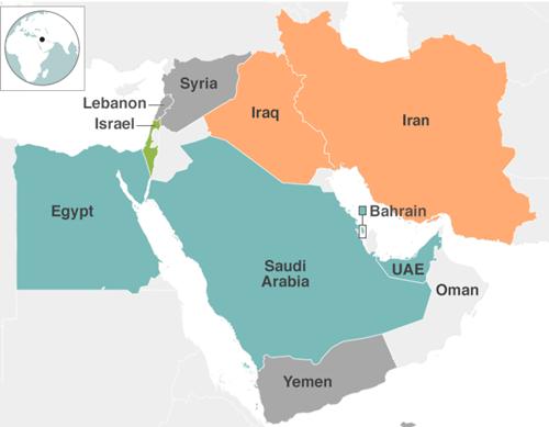 Vị trí các nước Arab Saudi, Iran và Yemen. Đồ họa:BBC.