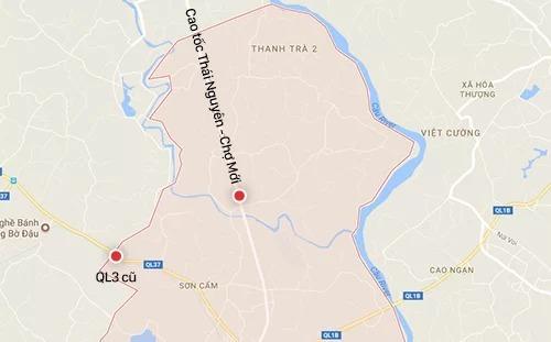 Vị trí hai trạm thu phí trên quốc lộ 3 và đường Thái Nguyên - Chợ Mới.