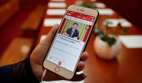 Giao diện của ứng dụng Xuexi Qiangguo ra mắt hồi tháng một. Ảnh: Reuters.