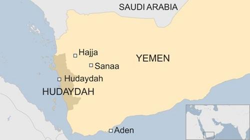 Vị trí thành phố cảng Hodeidah (Hudaydah) của Yemen. Đồ họa: BBC.
