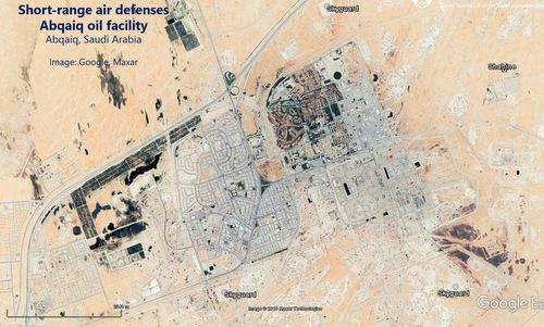 Trận địa Shahine và Skyguard bảo vệ nhà máy tại Abqaiq hồi tháng 4. Ảnh: Google Earth.