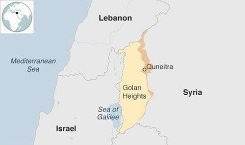 Vị trí tỉnh Quneitra ở miền nam Syria, giáp Cao nguyên Golan do Israel kiểm soát. Đồ họa: BBC.
