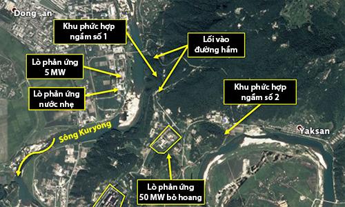 Vị trí hai khu phức hợp ngầm tại cơ sở hạt nhân Yongbyon của Triều Tiên. Đồ họa: 38 North.