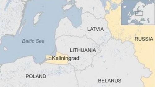 Vị trí vùng Kaliningrad và Biển Đen. Đồ họa: BBC.