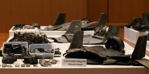 Mảnh vỡ UAV bị nghi của Iran sau vụ tấn công nhà máy Aramco. Ảnh: Reuters.