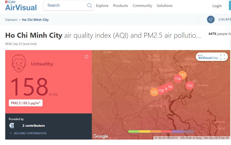 Cảnh báo mức độ ô nhiễm không khí tại TP HCM trên trang AirVisual ngày 22/9.
